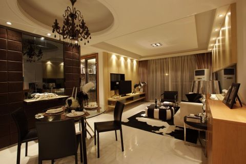 卧室黑色吊顶新中式风格装饰图片