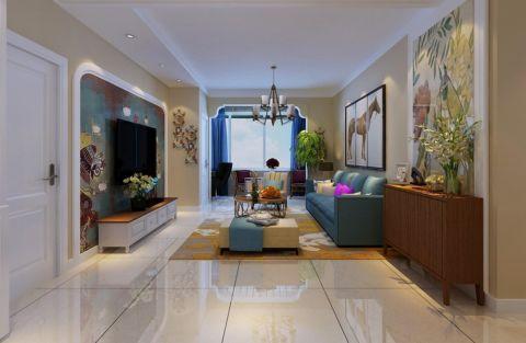 客厅米色背景墙简约风格装修设计图片