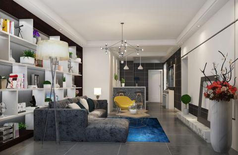 客厅白色吊顶简约风格装饰设计图片