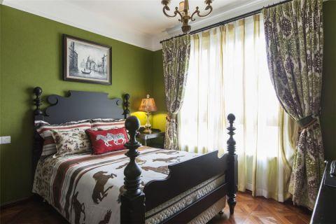 卧室绿色背景墙简约风格装饰效果图
