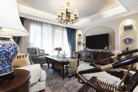 客厅蓝色窗帘简约风格装潢效果图