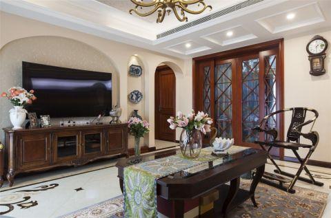 客厅白色背景墙简约风格装修图片