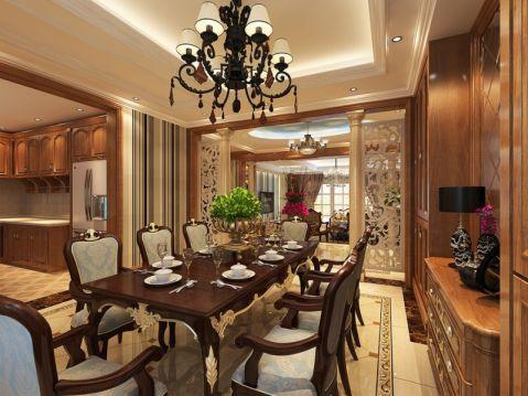 餐厅咖啡色餐桌美式风格装修效果图