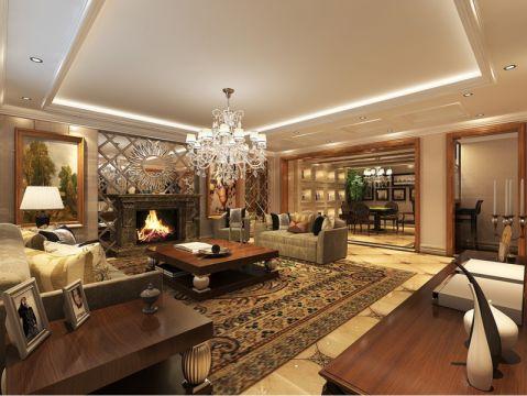 客厅白色灯具美式风格装饰效果图