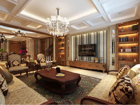 客厅红色茶几美式风格装潢效果图