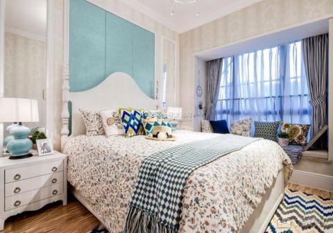 卧室白色背景墙田园风格装潢设计图片