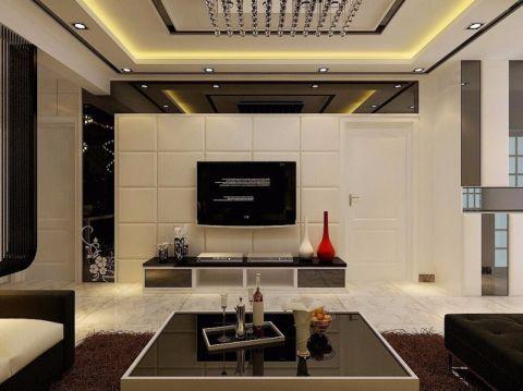 客厅白色背景墙装修案例图片