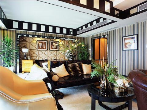 高贵风雅新古典黄色背景墙装潢图片