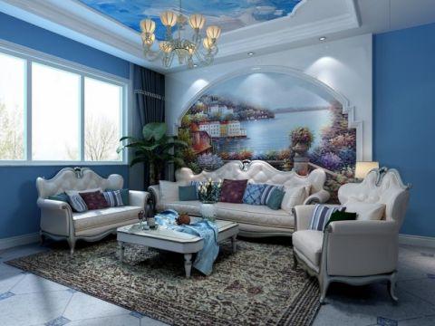典雅地中海彩色背景墙案例图