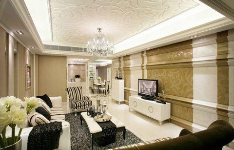 客厅白色电视柜欧式风格装潢图片
