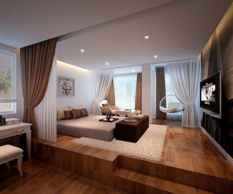 卧室白色背景墙室内效果图