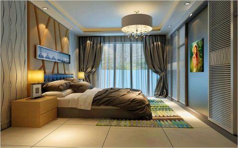 卧室灰色背景墙简约风格效果图