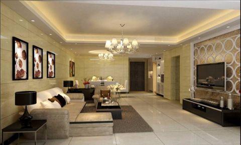 客厅米色照片墙简约风格装饰效果图