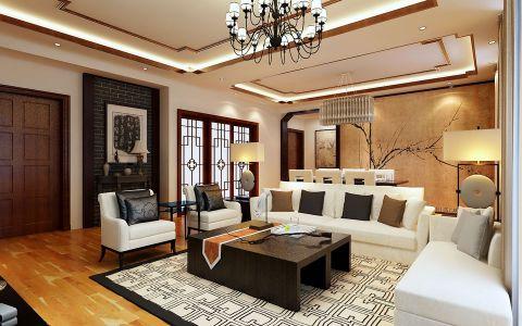 客厅黑色茶几新中式风格装修图片