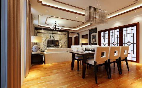 餐厅黑色餐桌新中式风格装饰图片