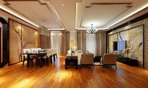客厅橙色地板砖新中式风格装潢图片