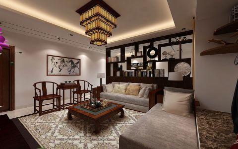 客厅黄色灯具中式风格装修效果图