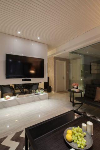 客厅白色地砖现代风格装饰图片