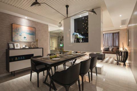 餐厅黑色餐桌现代风格装潢图片