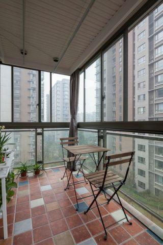 阳台彩色地砖现代风格效果图