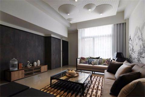 客厅黑色背景墙装修实景图