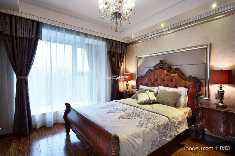 卧室咖啡色窗帘欧式风格装饰图片