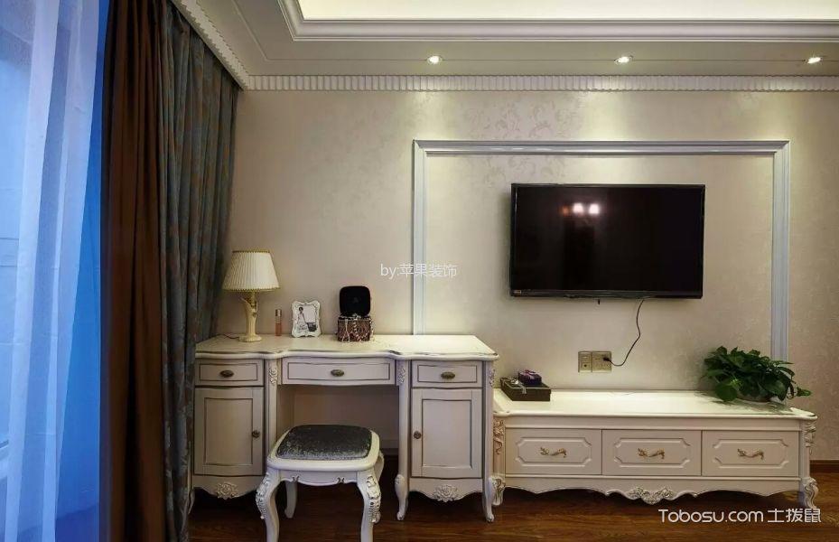 低调优雅白色电视柜装饰实景图片
