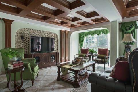 客厅绿色窗帘美式风格装潢图片