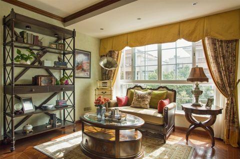 书房黄色窗帘美式风格装饰设计图片