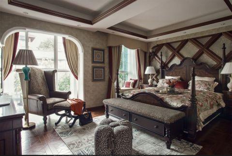 卧室米色背景墙美式风格装潢设计图片