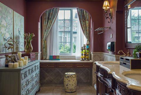 卫生间彩色窗帘美式风格效果图