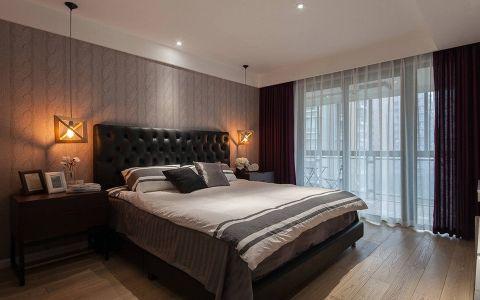 卧室咖啡色背景墙现代简约风格装潢设计图片