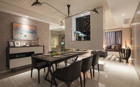 餐厅白色背景墙现代简约风格效果图