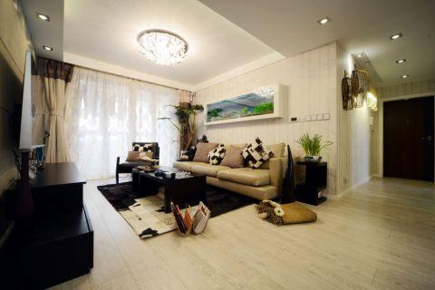 客厅黑色茶几混搭风格装修设计图片