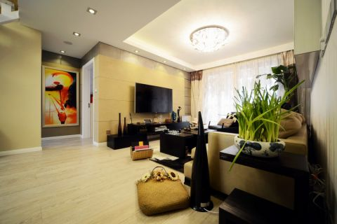 客厅黑色电视柜混搭风格装饰设计图片