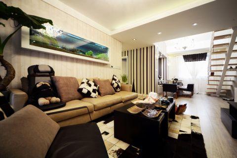 客厅橙色沙发混搭风格装修效果图