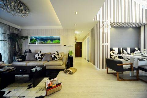 客厅黑色茶几混搭风格装潢效果图