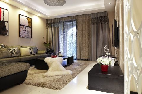 2018现代客厅装修设计 2018现代窗帘装修效果图片