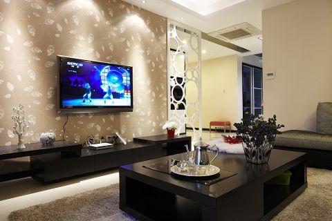 客厅黑色茶几现代风格装潢图片