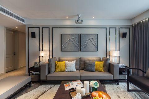 客厅灰色沙发混搭风格效果图