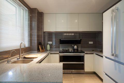 厨房白色橱柜混搭风格装修效果图