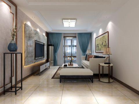 客厅蓝色窗帘设计效果图