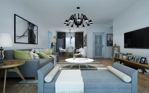 客厅黑色灯具现代风格装潢设计图片