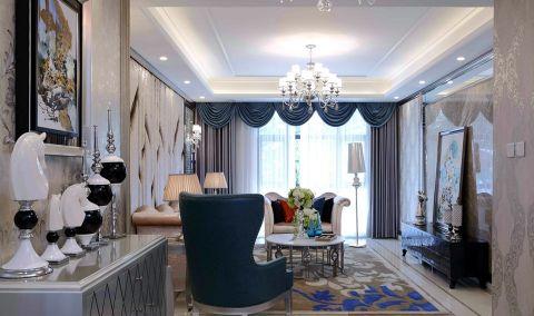 客厅白色茶几简欧风格装饰图片