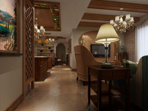 客厅橙色地砖田园风格效果图