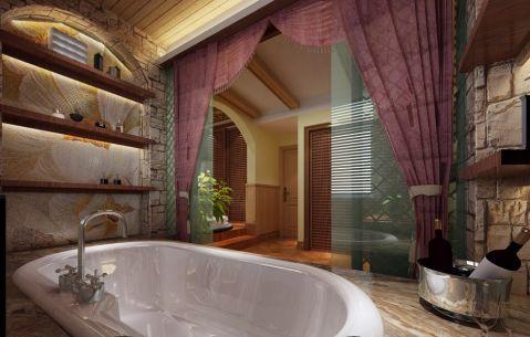 卫生间黄色浴缸田园风格装潢效果图