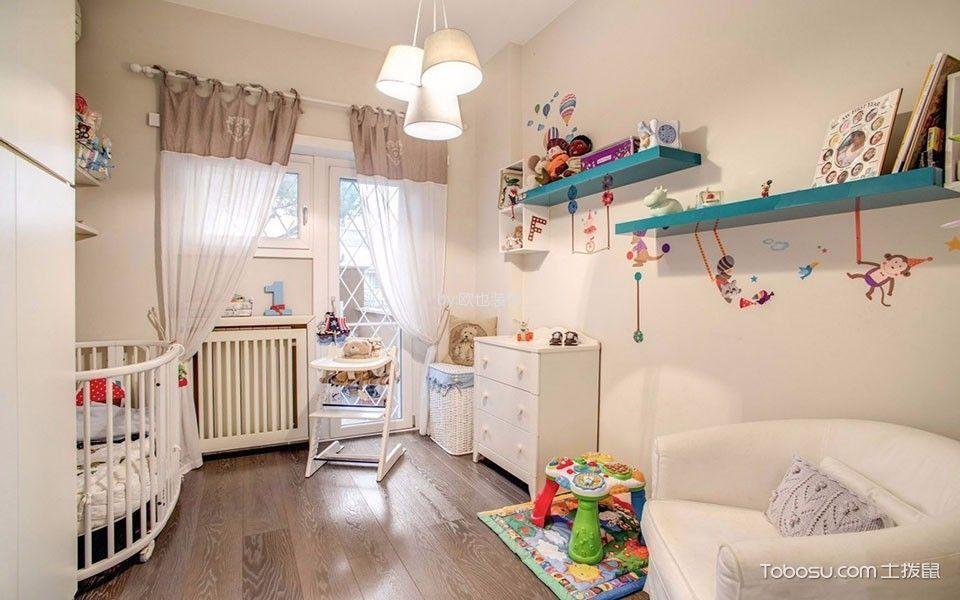 儿童房白色窗帘简约风格装饰图片