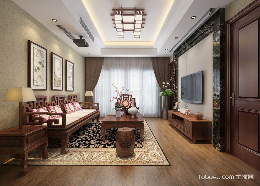 绿城名苑新中式二居室效果图