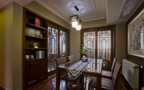 新中式门窗餐厅餐桌家装设计图