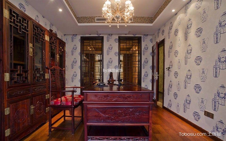 书房红色书桌新中式风格装潢图片